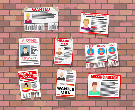 Wanted person paper poster. Missing announce Ilustração