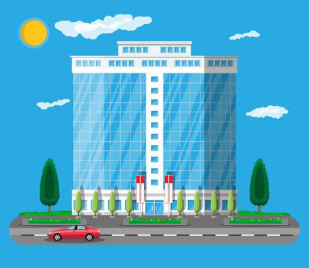 Extérieur du bâtiment de bureau. Bâtiment commercial, hôtel, centre d'affaires.