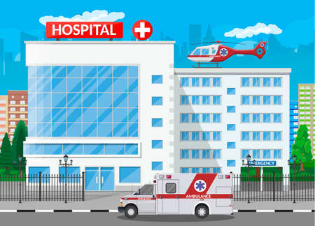 Hospital building, medical icon. Healthcare, hospital and medical diagnostics. Urgency and emergency services. Road, sky, tree. Car and helicopter. Vector illustration in flat style Ilustração