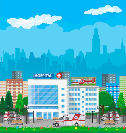 Hospital building, medical icon. Healthcare, hospital and medical diagnostics. Urgency and emergency services. Road, sky, tree. Car and helicopter. Vector illustration in flat style Illustration