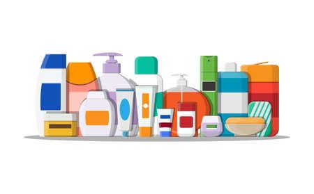 Set of various color bottles. Illustration