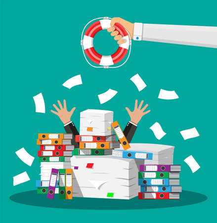 Stressed cartoon businessman in pile of office papers. Stock Illustratie