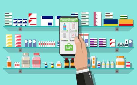 Online pharmacy or drugstore Stock Illustratie