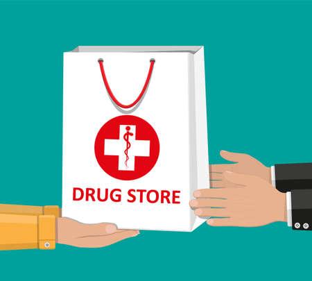 Bolso de compras blanco para pastillas y botellas médicas
