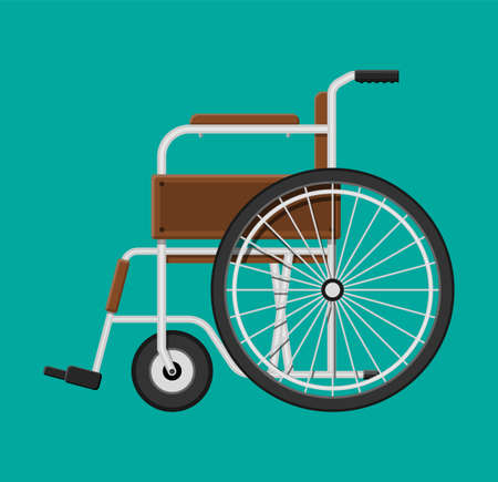Wheelchair in the hospital. Isolated on blue background 向量圖像