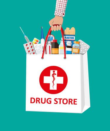 의료 알 약 및 병 쇼핑 가방입니다.