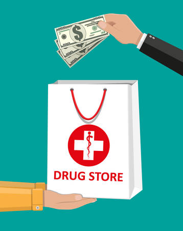 White shopping bag for medical pills and bottles Illustration