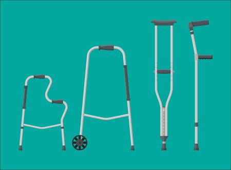 Conjunto de ayudas a la movilidad; muletas en diferentes ilustraciones.