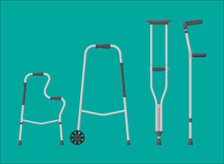 Set of mobility aids crutches in different illustration.