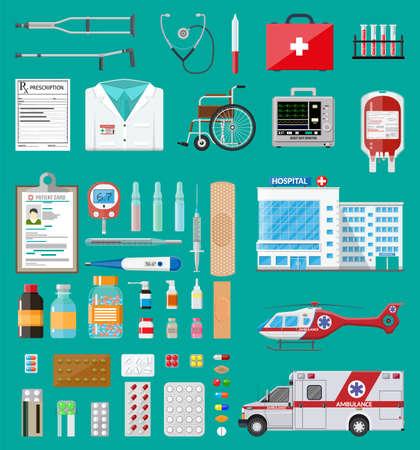 Medycyna pigułki kapsułki, butelki i urządzenia opieki zdrowotnej. Samochód pogotowia i śmigłowiec, budynek szpitala. Opieka zdrowotna, diagnostyka medyczna. Pilne służby ratunkowe. Ilustracja wektorowa w stylu płaski