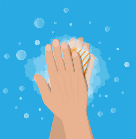 Man washes hands with soap, hygiene. Stock Illustratie