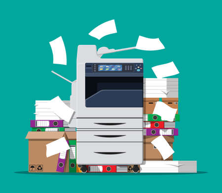 Pile of paper documents and printer 版權商用圖片 - 90336458