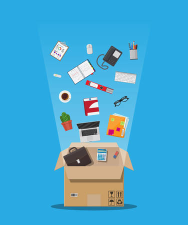 Moving to new office. Cardboard box with folder, document paper, contract, calculator, pen and pencils, eyeglasses, book, ring binder, phone. Keyboard, mouse cactus Vector illustration in flat style.