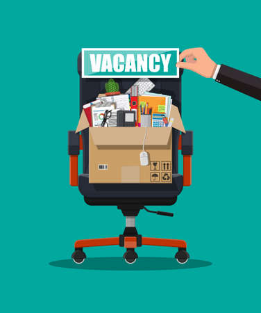 Office chair, sign vacancy. Box with office goods. Hiring and recruiting. Human resources management concept, searching professional staff, work. Found right resume. Vector illustration in flat style