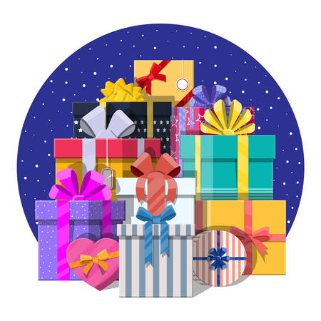 Pile of gift boxes isolated on white. Colorful wrapped. Sale, shopping. Present boxes different sizes with bows and ribbons. Collection for birthday and holiday. Vector illustration in flat style Ilustração