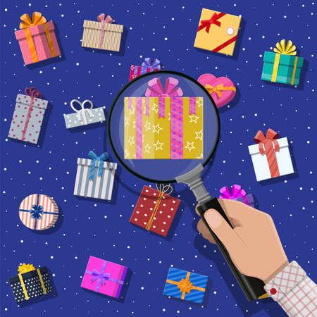 Geschenkdozen en hand met vergrootglas. Kleurrijk ingepakt. Verkoop, winkelen. Presenteer dozen van verschillende groottes met strikken en linten. Collectie voor verjaardag en vakantie. Vectorillustratie in vlakke stijl
