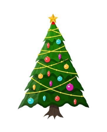 Christmas tree decorated with colorful balls, garland lights, golden star.