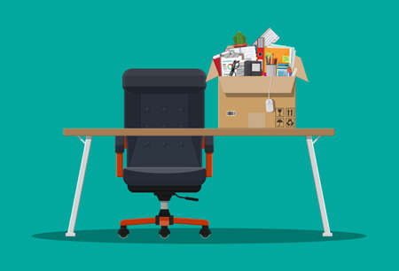 Office chair and table. Box with office goods. Hiring and recruiting. Human resources management concept, searching professional staff, work. Found right resume. Vector illustration in flat style