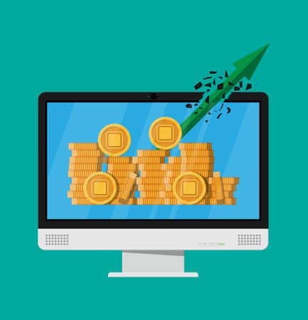 Stack of golden coin with computer chip. Computer monitor. Money and finance. Digital currency. Virtual money, cryptocurrency and digital payment system. Vector illustration in flat style