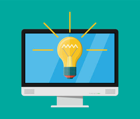 Computer monitor with light bulb, vector illustration.
