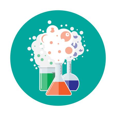 Laboratory equipment, jars, beakers, flasks. Chemical reaction. Biology science education medical. Vector illustration in flat style Illustration