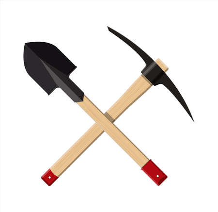 Crossed shovel and pickaxe.