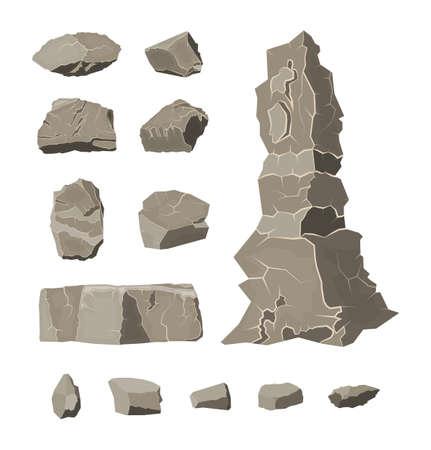 Set of rock stone. Stones rocks in variuos sizes.