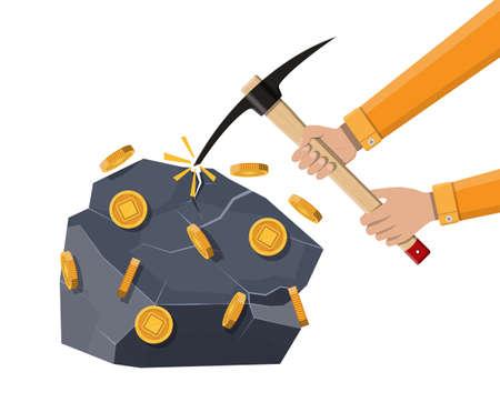 Gouden munt met chip en houweel. Mijnbouw symbool. Geld en financiën. Digitale valuta. Virtueel geld, cryptocurrency en digitaal betalingssysteem. Vectorillustratie in vlakke stijl