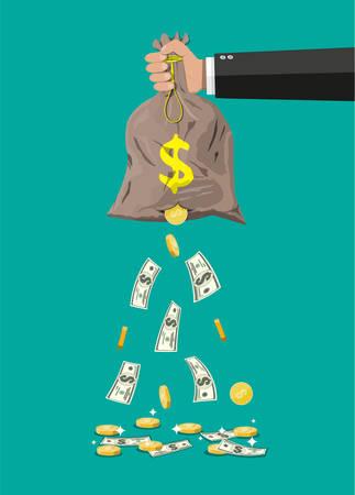 手に穴が開いているマネーバッグ。金貨とドル現金を失うお金を失い、過剰支出。フラットスタイルのベクトルイラストレーション