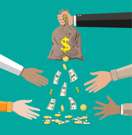 Money bag with hole in hand. Losing golden coins and dollar cash. Losing money and overspending. Vector illustration in flat style