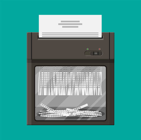 Shredder machine. Vlakke stijl Stock Illustratie