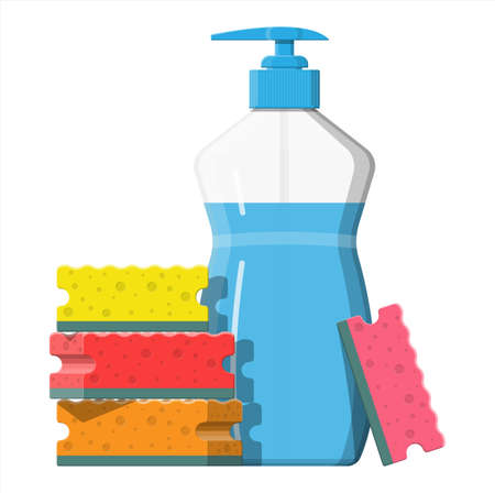 Bottle with dispenser and sponge. Washing sponge. Kitchenware scouring pads. Kitchen and bath cleaning tool accestories. Vector illustration in flat style Ilustração