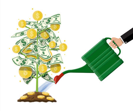 Watering money coin tree with can. Growing money tree. Investment, investing. Gold coins and dollar banknotes on branches. Symbol of wealth. Business success. Flat style vector illustration.