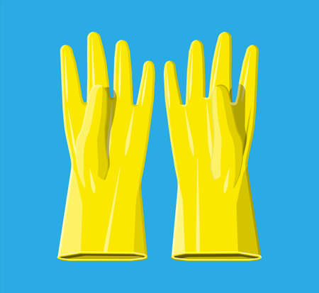 Yellow rubber gloves. Hygiene, cleaning, wash, housekeeping work. Work and protective equipment. Vector illustration in flat style Illustration