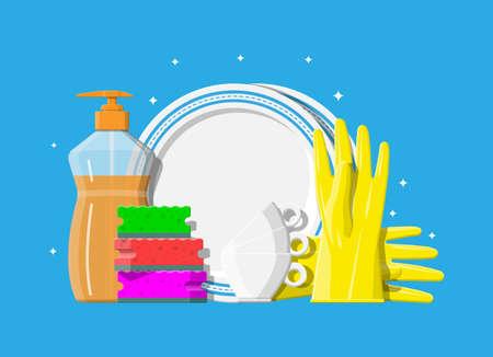 Bottle of detergent, sponge and rubber gloves.