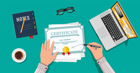 Businessman hand signs certificate. Diploma or accreditation with yellow stamp and red ribbons. Voucher or invitation. Graduation concept.
