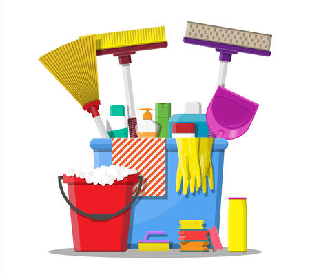 Bottle of detergent, sponge, soap and rubber gloves. Bucket, MOP, broom, dustpan.