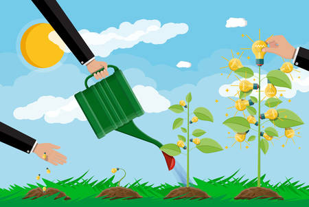 Businessman hand watering tree with can. Glowing light bulb hanging with green leaves. Idea tree.