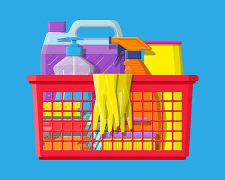 Bottle of detergent sponge soap and rubber gloves Illustration