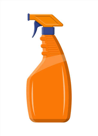 Bottle with liquid detergent. Spray bottle with cleaner.
