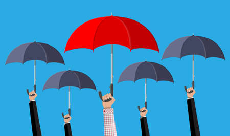 Man with red umbrella in the crowd with grey umbrellas. Human diversity, uniqueness and individuality. Concept of difference. Vector illustration in flat style