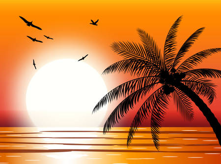 Silhouette of palm tree on beach. Sun with reflection in water and seagulls. Sunset in tropical place. Illustration