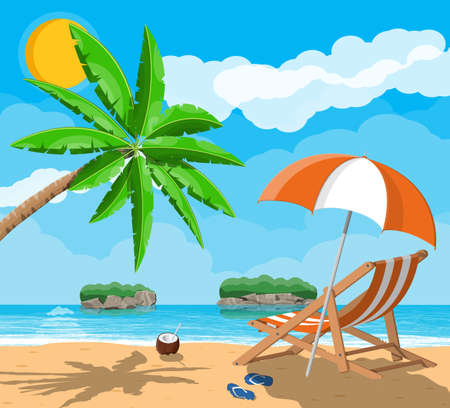 Landscape of palm tree on beach 向量圖像