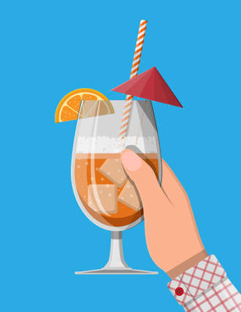 Glass of cold drink, alcohol cocktail in hand. 일러스트