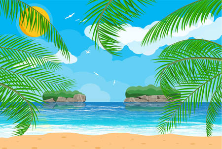 Landscape of palm tree on beach Vector illustration. Illustration
