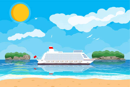 Tropical beach with cruise ship Illustration