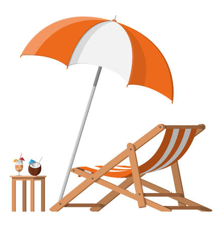Wooden chaise lounge, umbrella, cocktail 일러스트