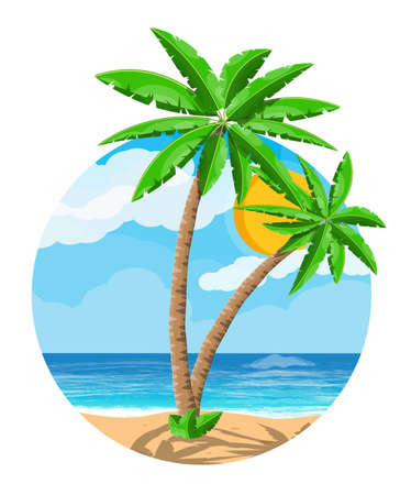 Landscape of palm tree on beach Illustration