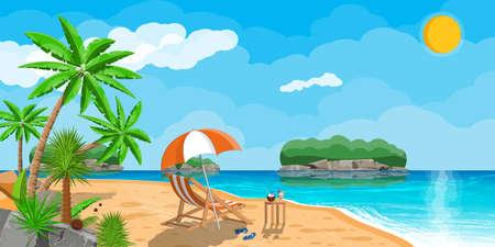 Landscape of palm tree on beach Ilustração