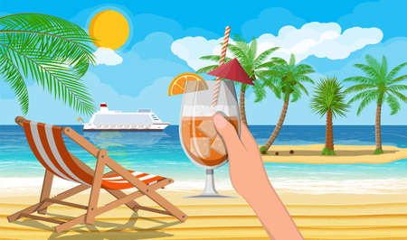 Landscape of palm tree on beach. Illustration
